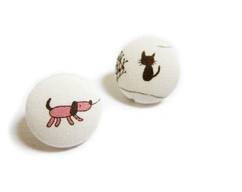 Clip On Earrings / Stud Earrings / Fabric Button Earrings - dog and cat earrings