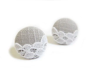 Button Earrings / Clip On Earrings / Stud Earrings - lace on gray earrings
