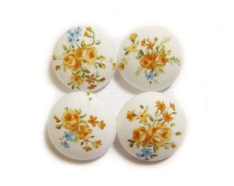 Fabric Covered Buttons - Yellow Roses - 4 Large Fabric Buttons Set