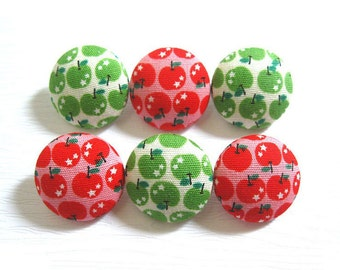 Fabric Covered Buttons - Apples - 6 Medium Buttons