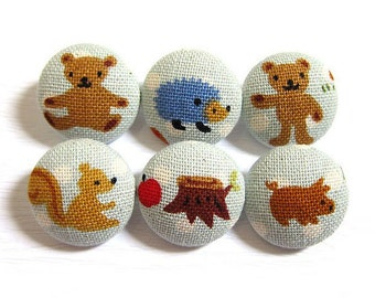 Fabric Covered Buttons - Sweet Country in Blue - 6 Medium Buttons