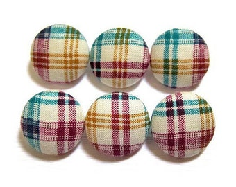 Fabric Covered Buttons - Purple and Teal Plaid - 6 Medium Buttons