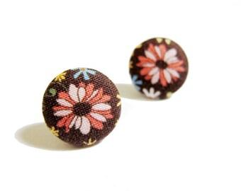 Button Earrings / Clip On Earrings  - brown floral earrings