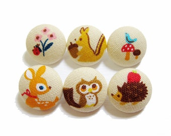 Sewing Buttons / Fabric Buttons - 6 Medium Fabric Buttons Set - Forest Friends on Tan
