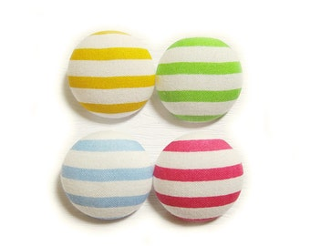 Sewing Buttons / Fabric Buttons - Bright Stripes - 4 Large Fabric Buttons Set