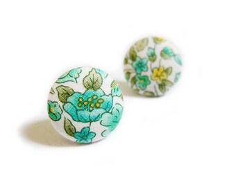 Clip On Earrings / Stud Earrings / Fabric Button Earrings - green floral earrings
