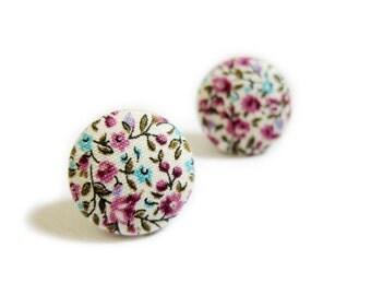 Fabric Button Earrings / Clip On Earrings - purple floral earrings