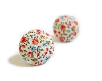 Fabric Button Earrings / Clip On Earrings - red floral earrings