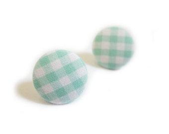 Clip On Earrings / Stud Earrings / Button Earrings - mint gingham earrings