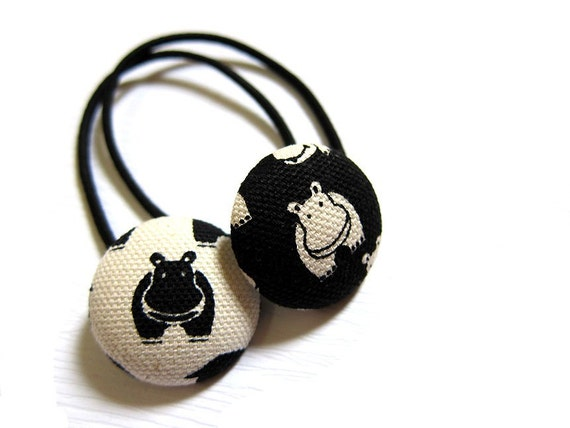 Button Ponytail Holders - Twin Hippos