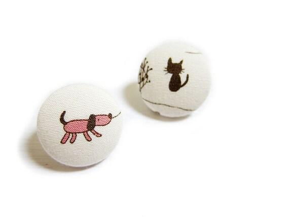 Clip On Earrings / Stud Earrings / Fabric Button Earrings - dog and cat earrings
