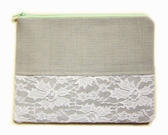 Zipper Pouch - Antique Lace in Gray - Available in Small / Large / Long