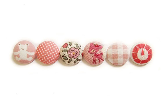 Sewing Buttons / Fabric Buttons - 6 Large Fabric Buttons Set - Pink Buttons