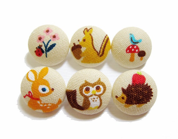 Fabric Covered Buttons - Forest Friends on Tan - 6 Medium Fabric Buttons LIMITED SETS