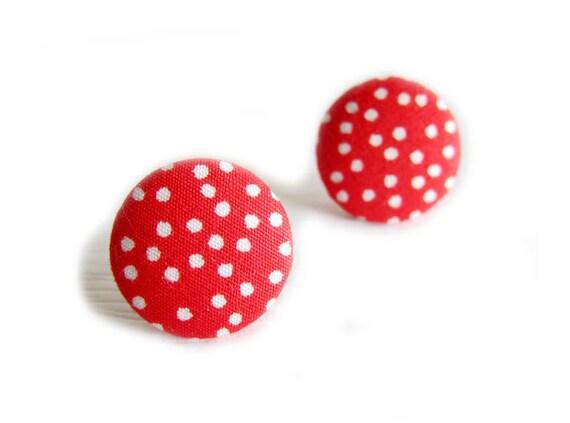 Fabric Button Earrings / Clip On Earrings  - red polka dot earrings