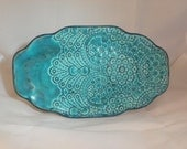 Lace Patterned, Turquoise, Ceramic Platter
