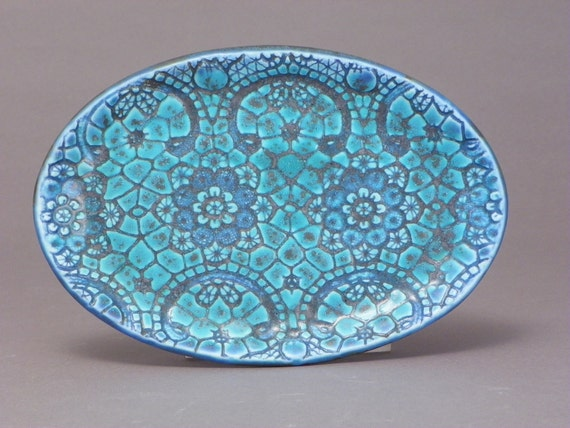 Decorative, turqouise, ceramic platter