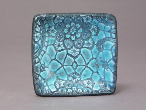 Turquoise, square, small, ceramic tray