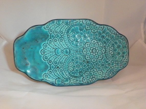 Lace Patterned Turquoise Ceramic Platter
