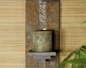 Natural Stone Wall Candle Sconce - Baked Earth on Copper Slate