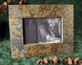 4x6 Real Slate Picture Frame - Pinecone on Copper Stone