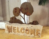 Sand Stone and Steel Welcome Door Stop - Leaves