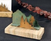 Business Card Holder - Patina Metal and Sand stone - Hiker