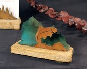 Business Card Holder - Patina Metal and Sand stone - Fish