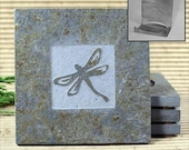Dragonfly - Real Etched Slate Coaster Set with Holder