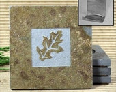 Oak Leaf - Real Etched Slate Coaster Set with Holder