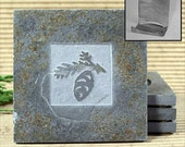 Pinecone - Real Etched Slate Coaster Set with Holder