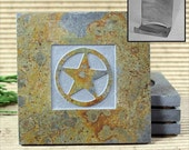 Texas Star - Real Etched Slate Coaster Set with Holder