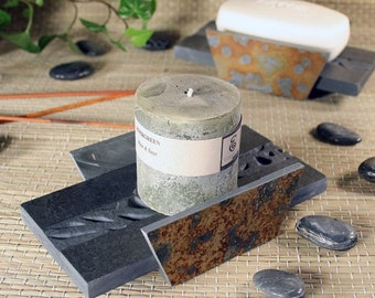 Natural Stone Soap Dish or Candle Holder - Woodland on Slate
