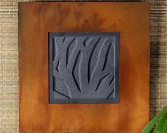 Natural Stone Wall Art Single - Woodland on Ebony Slate w/ Rust Frame