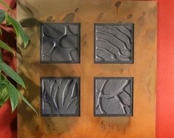 Natural Stone Wall Art Quad - Ebony Slate w/ Rust Frame