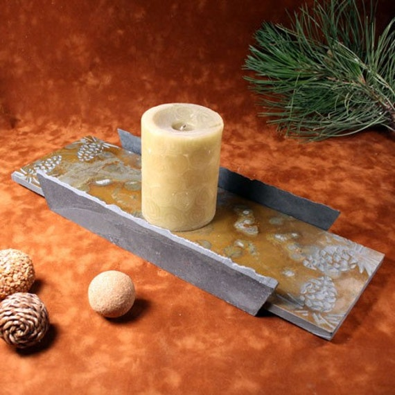 Natural Slate Candle Tray - Pinecone etched on Multi Stone