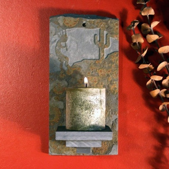 Kokopelli Wall Sconces : Items similar to Natural Slate Wall Candle Sconce - Kokopelli on Copper Stone on Etsy