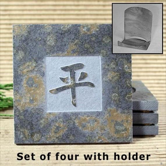 Kanji Peace - Real Etched Slate Coaster Set with Holder