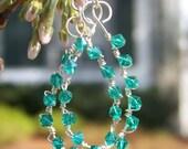 Layla Blue/Green Swarovski Crystal Earrings