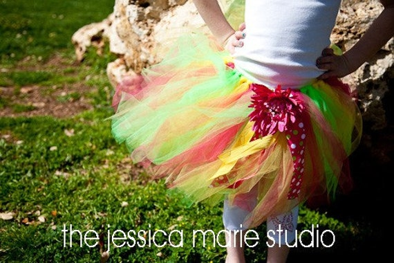 Spring Tutu--Sweet Melon (Bright pink, green and yellow) size 2T-6T CUSTOM MADE TUTUS ARE PEFECT FOR BIRTHDAY PARTIES, BIRTHDAY GIRL BALLET, DANCE, PHOTOGRAPHY PROP, DRESS UP