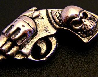 Sterling Silver Pistol and Skull Pendant