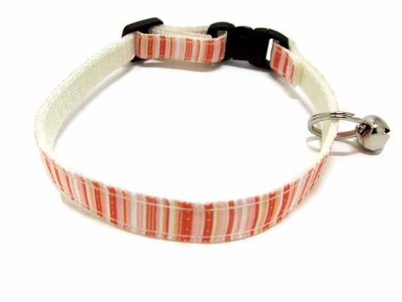 Coral and Peaches Striped Breakaway Cat Collar