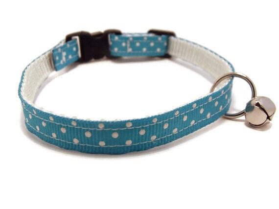 Breakaway Cat Collar - Sky Blue with Dots