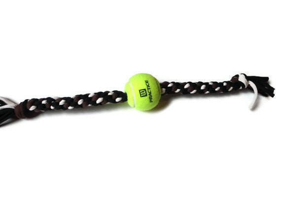 Upcycled Dog Toy: Tennis Ball/ T-Shirt (Forest Green, Beige, Brown)