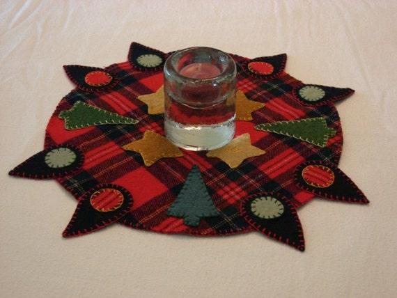 Handmade penny rug christmas plaid