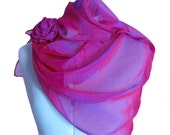 Floral Accessories Fuchsia Pink Purple Chiffon Scarf and Silk Cotton Rose Set Promofrenzyteam Ready to Ship