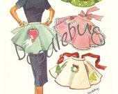 Vintage 1956 Apron Pattern Picture Art Print on Watercolor Paper No. 1