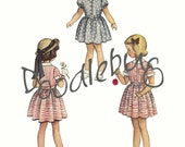 Vintage Little Girl 5x7 Pattern Picture Art Print on Watercolor Paper No. 3 - Ready for Framing - Great Vintage Look for Nursery or Office