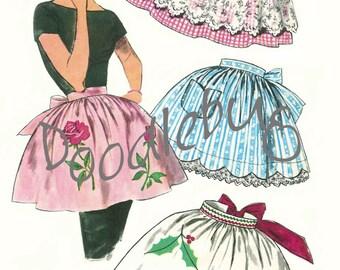 Vintage 1950'S Apron Pattern Picture Art Print for Digital Download No. 3706