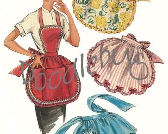 Vintage 1954 Apron Pattern Picture Art Print for Digital Download No. 4938